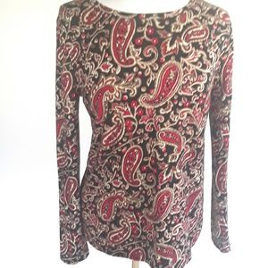 Hannah Paisley Print Long Sleeve Shirt,  M